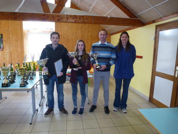 Championnat du Morbihan De gauche à droite, Morvan (1er) Laureline Georget (2ème) Franck Duplessis (3ème) Célia Malry présidente du Cdje